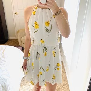 LUSH White and Yellow Floral Spring Dress SMALL